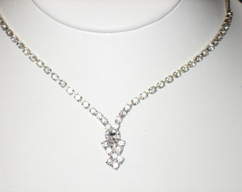 Rhinestone Drop Necklace Box Chain Style Silver Tone, CLEARANCE