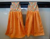 Orange sorbet hanging kitchen towel set (2 towels) - ready to ship