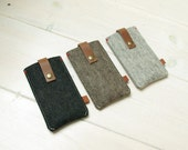 IPHONE 7 COVER felt & leather closure - in Brown, Grey, Black - New Heritage style, natural leather