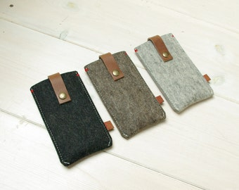 IPHONE 5 / SE COVER felt & leather closure - in Brown, Grey, Black - New Heritage style, natural leather