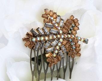 leaf hair comb woodland hair accessory autumn leaves fall wedding brown orange hair accessories for bride orange bridesmaid hair combs