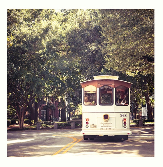 Art, Photography, Savannah, Georgia, Trolly, Fine Art Print, Cottage, Coastal, Home Decor Print