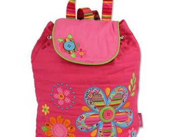 Personalized Monogrammed Stephen Joseph Signature Collection Quilted Flower Backpack--Free Monogramming--