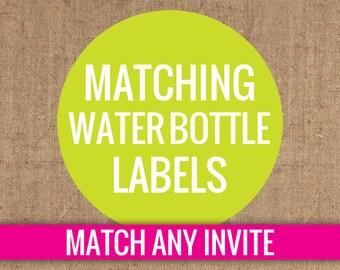 Matching Water Bottle Labels - DIY Printable