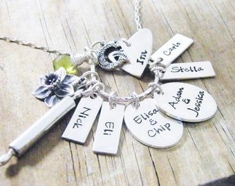personalized necklace hand stamped sterling silver and genuine gemstone wire peridot