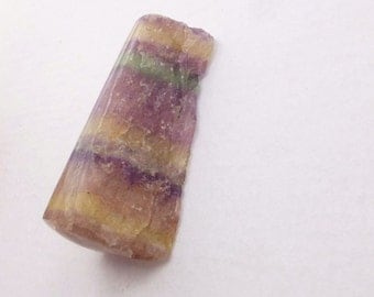 BeLoW CoSt FLUORITE. Natural. Banded. Purple, Green, Yellow. Semi polished. Freeform.. 1 pc. 38.15 cts. 11x32x10 mm (FL59)