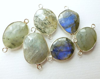 LABRADORITE. CoNNEcTOR LiNKS. Natural. MEDiUm SiZe. Flat Rose Cut Polki. Sterling SiLver. 6 pc. 45.0 cts. 14 to 19 mm (C-Lab2silv)