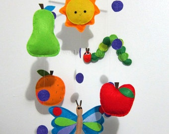 """Baby Mobile - Nursery Mobile - Long Decorative Fruits Mobile  - Inspired by """" Very Hungry Caterpillar"""" Mobile  (Custom Color Available)"""