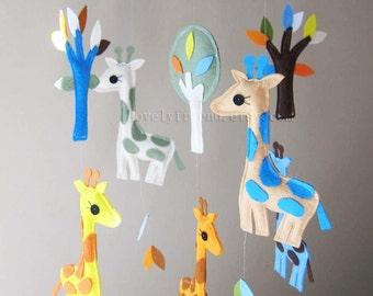 "Baby Mobile - Nursery Mobile - Sweet Giraffes crib Mobile - ""Higher! Higher!"" Mobile  (Custom Color Available)"