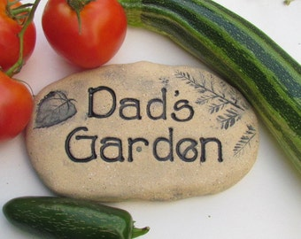 Dad Garden sign. Rustic Vegetable marker. Natural Handmade CERAMIC plant marker. Dad garden decoration
