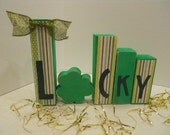 St Patricks Day Word Blocks Lucky 2x2