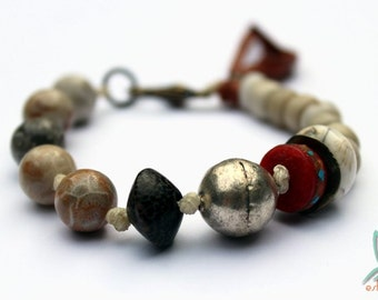 Wanderlust - handmade ethnic, tribal bracelet with fossil coral, padre beads, yak bone, naga shell, maya silver