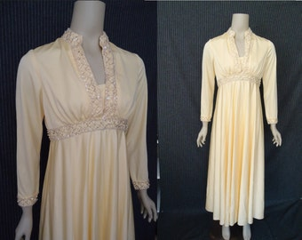 BEADED Lemon Drop Vintage 1970's Empire Waist Party Maxi Dress M L