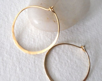 3/4 inch Solid Gold Hammered Endless Hoops (20 gauge) Bright Finished Large Sized Hoops