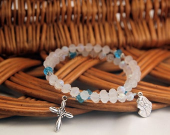 Our Lady of Sorrows Rosebud Rosary Bracelet, White Opal and Clear Crystal