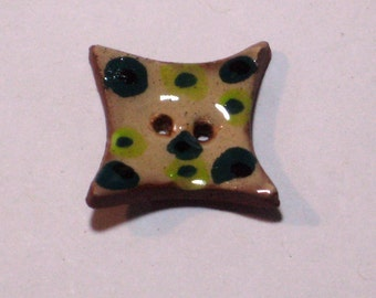Handmade ceramic buttons -  pair of square pottery buttons C28