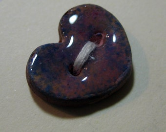 Handmade ceramic buttons -  pair of small purple heart handpainted pottery buttons C5
