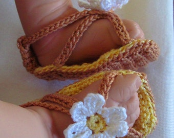 Crocheted Baby Shoes, Yellow Baby Sandals, Baby Sandals, Baby Summer Sandals, Crocheted Sandals, Flower Baby Sandals, New Baby Girl Gift