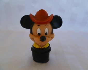 Mickey Mouse Cowboy Hat Squeeze Toy Disney Collectable Vinyl