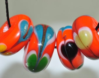 Listed @10% Off Sale Was 9.89---4 Pieces 12x6mm Artsy~ Unique Vintage Fancy LAMPWORK Glass Hand-painted Rondelle Beads - M0848