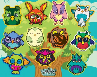 Owl Posse Vinyl Sticker Sheet with 11 Die-Cut Stickers