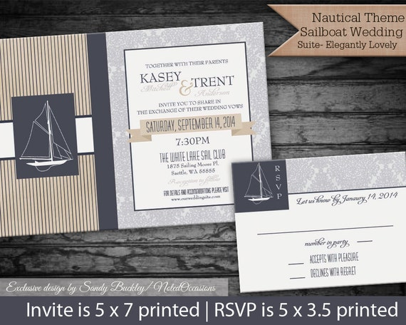 Sailboat Wedding Invitations: Nautical Wedding Invitations For Yacht Club By NotedOccasions