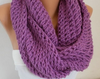 Violet Knit Infinity Scarf, Custom Scarf, Circle Loop Scarf, Glitter - Gif Ideas for her  chunky infinity scarf Women Fashion Accessories