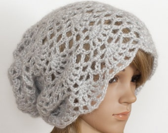 CROCHET PATTERN instant download - Adorable Adeleide Hat - gray grey lace pretty cute beanie