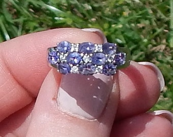 Eye Catching --Vintage White GOLD --Natural DIAMOND --Natural TANZANITE ---Ring