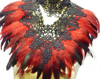 Victorian Gothic LACE Red/Blk Coque Feather Collar Romantic Elegance