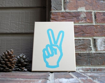 """Peace Fingers Painted 8""""x10"""" Canvas"""