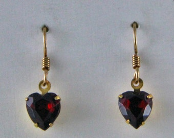 Handmade Gold Tone Red Heart Rhinestone Earrings Valentine Gift