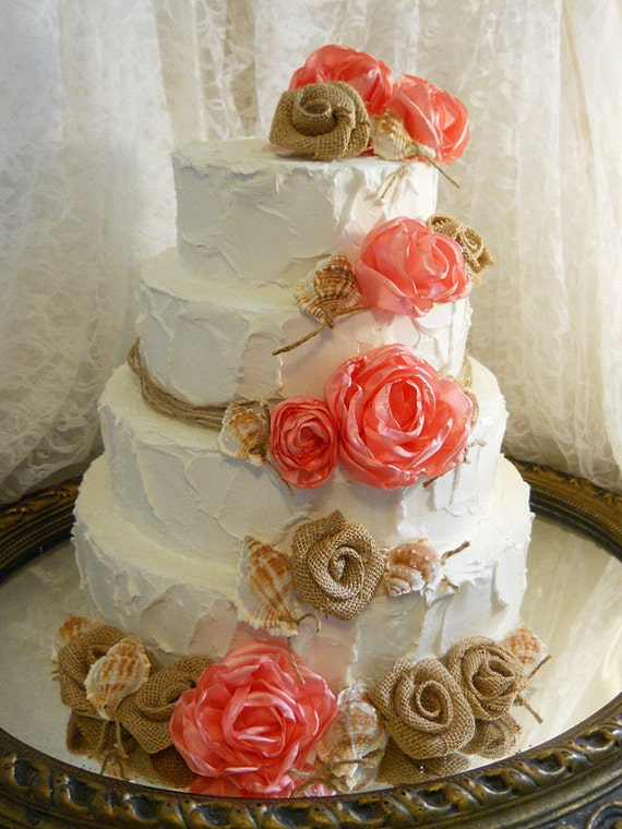 Coral Seashell Burlap Cake Topper Flowers With Twine Beach