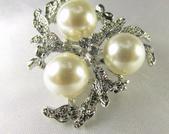 Silver Leaf and Large White Pearl Cluster Brooch for bridal bouquet or jewelry decoration