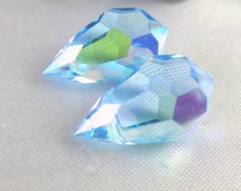2 Preciosa Czech Crystal Aquamarine AB Sky Light Blue 9mm x 15mm Faceted Teardrop Top Drilled Briolette Jewelry Beads