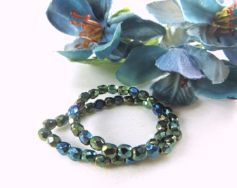 Czech Glass 4mm Green Iris Fire Polished faceted fire polished  jewelry beads - strand of 50