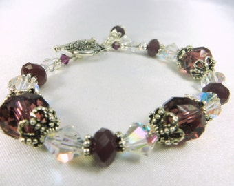 Plum Purple Crystal AB Bracelet with Silver Butterfly Toggle Clasp