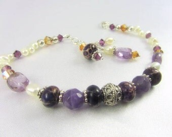 Purple Faceted Amethyst, White Freshwater Pearls, Purple Jasper and Bali Sterling Silver Bracelet - matching necklace set available