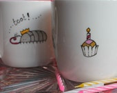 Birthday mug party bugs cup hand painted unusual gift for gardeners