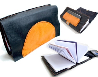 MOON - Hand Stitch Leather Writing Book - Bag pattern Clutch with VIDEO INSTRUCTIONS