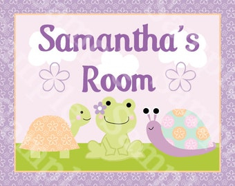 Personalized (Garden Puddles/Turtle/Frog/Snail) 8x10 Nursery Art Print