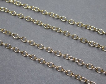 14K Gold Fill Necklace Chain, Medium Weight Cable Chain, Finished Chain, Interchangeable Necklace with 14K Gold Fill Lobster Clasp