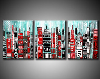 48x20 ORIGINAL Abstract City Painting Modern Buildings Codes. Teal, Aqua & Red Fine Art by Federico Farias