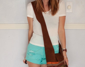 southwestern suede shoulder bag