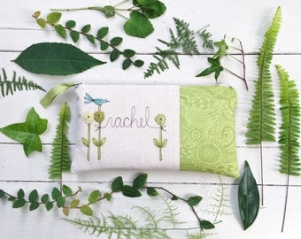 Green Wedding Bag, Unique Bridesmaid Gift, Personalized Bridesmaid Clutch, Fern Green Wedding MADE TO ORDER MamaBleuDesigns
