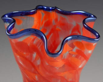 "Hand Blown Fluted Cylinder Vase ""Flames"""
