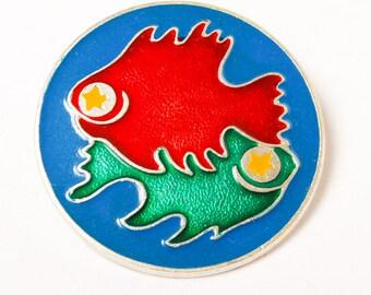Vintage big pin, Astrological sign  Pisces,  Badge, from USSR