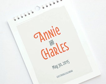 Wedding Guest Book Alternative, Personalized Wedding Guest Calendar, Perpetual Calendar, Standard Size // CLOUD NINE