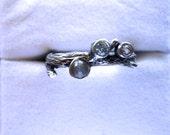 Unique Gemstone Ring Sterling Silver Twig 1, 2 or 3 gems handmade 1/2 size 6 7 8 9 10 blue white topaz purple amethyst tanzanite alexandrite