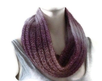 Knit Hooded Cowl, Womens Mohair Scarf, Mohair Snood, Winter Cowl, Winter Snood